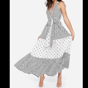 Tie Waist Maxi Dress - Stripe and Polka Dot